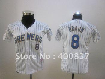 New Baseball Jerseys Brewers 8 Braun Youth Jersey  White Blue Stripe Cool Base Mix Order  Size S M L XL Cheap