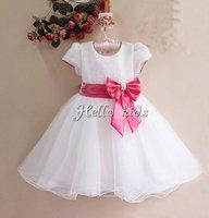 Novley Chirstmas Girl Princess Dress White Diamond kids Girls Floar 6PCS/LOT Infant Party Dress GD11116-01W^^HK Baby Clothes