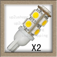 2pcs/lot Warm White T10 9 LED 5050-SMD 194 168 W5W Car Side Tail Lights Bulbs Lamps for sample