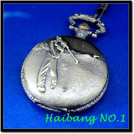 Wholesale! New Antique Hitting Golf Ball Case Design Pendant Men's Necklace Vintage Quartz Pocket Watches(China (Mainland))