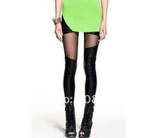 spring 2014 sexy ecopelle match Patchwork leggings leggins women stretch fitness pants black womans underpants
