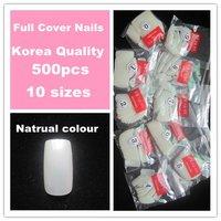 Free Shiping 500pcs/bag  Korea  Natural Nails High Quality Full Cover Nail Tips /Nail Art Tips