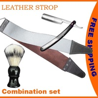 FREE SHIPPING STRAIGHT CUT THROAT SALON SHAVING RAZOR + CANVAS  LEATHER STROP + SHAVING BRUSH