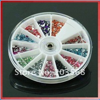 12 Colors Nail Art DIY Glitter Rhinestone Crystal Decoration 12 Styles With Disk