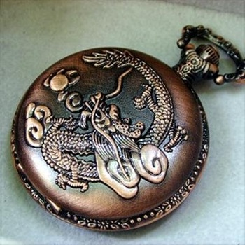 Antique Copper Tone CHINESE DRAGON embossed Case Men's Necklace Vintage Quartz Pocket Watches L232