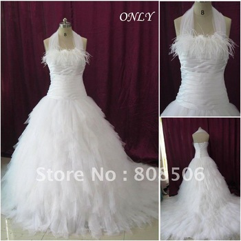 OL5412 Custom Made Free Shipping Real Sample Tulle Feather A Line Wedding  Dress 2012