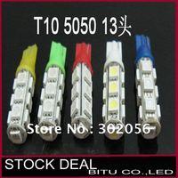 300pcs/lot free shipping  T10 13SMD 5050 Car 194 168 192 W5W LED Light Automobile Bulbs BU007