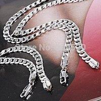 HOT  New Men's 18k White gold plated filled necklace/Bracelet Sets chain  3pcs