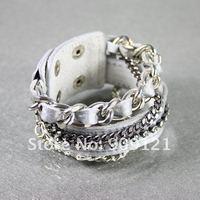 Wholesale Promotion 50Pcs/Lot Beautiful and Elegant Silver Leather Wristband With Glittering twenty-one Rhinestones