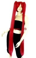 "Heat Resistant 2 Clip On Bright Burgundy Red 44"" Ponytail 110cm Cosplay Wig"
