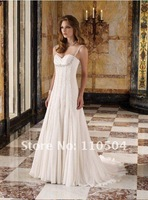 Classic sheath spaghetti strap chiffon vintage wedding dresses for bridal