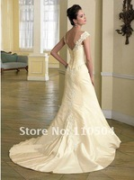 Playful A-line cap sleeve lace hem modest wedding dresses for bridal