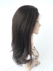 2012 fashion wig 18inch 2# Yaki straight 100% Chinese remy human hair full Lace Wig PU juncture stock 1# 1b# 2# 4#(China (Mainland))