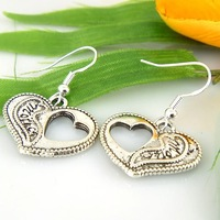 Hot!!Free Shipping retro fashion Tibetan silver Love earrings 18 pairs Factory outlets