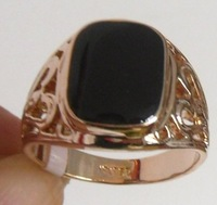 Exquisite 18K Rose Gold GP Black Onyx  Men's Ring; Size 9-11. 2 ring up wholesale. Free shipping ;Provide tracking number.