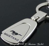K1623 free shipping 12 pcs/lot car keychain MUSTANG car keychain fashion keychain Trapezoidal metal car key ring alloy keychain
