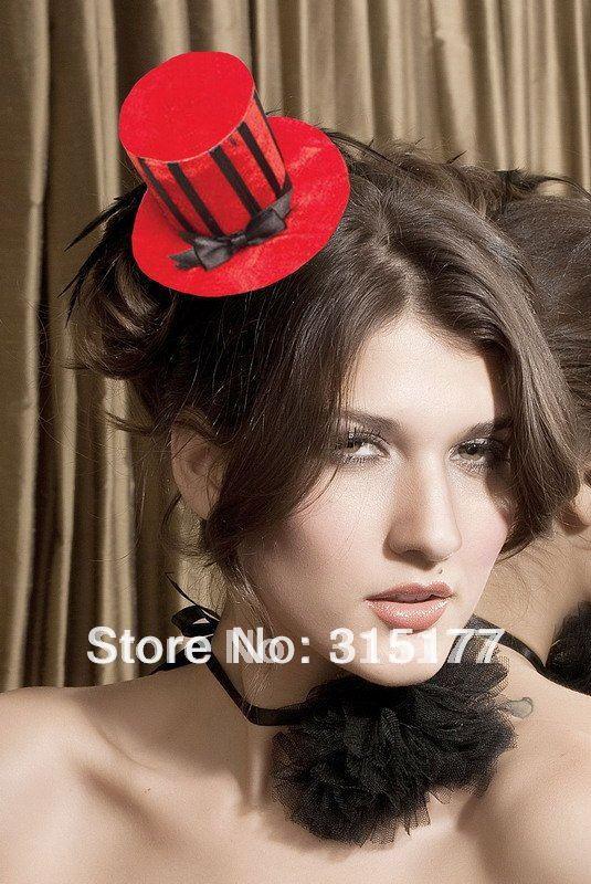 Free shipping Velvet Striped Mini Top Hat 100% Nylon Women Headwear Wholesale 50pieces/lot Headband Party Accessories 70340-1(China (Mainland))