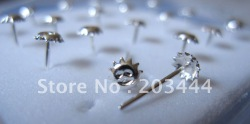 925 sterling sliver Nose Studs, Nose Rings, Nose Jewelry,happy face 20pcs(China (Mainland))