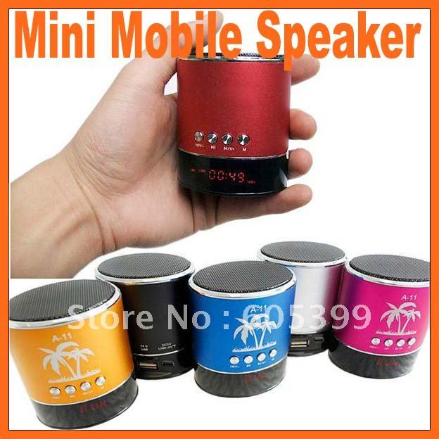 7in1Portable Mini Mobile Speaker with USB/TF card reader LCD display FM radio MP3 Player sound box for iPod/Laptop/PC(China (Mainland))