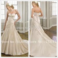 Free shipping ET-17 Elegant A-line Strapless Sleeveless Satin Embroidery Write/Ivory/Champagne Wedding Dress Custom-made