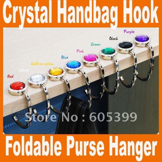 100 pcs/lot Bag hook Folding Bag Purse Hook NO Mirror Crystal bag Hanger Holder handbag hot sale Free Shipping(China (Mainland))