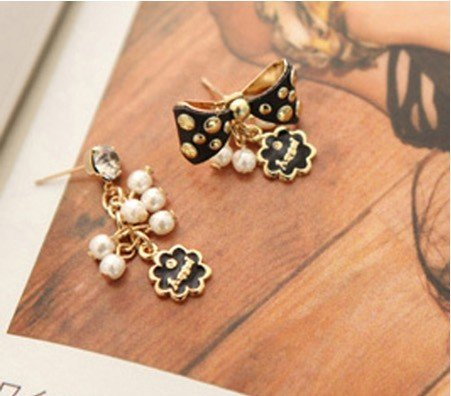 New arrival ! fashion imitation diamond Pearl tassel rivets bowknot asymmetric stud earrings.24pairs/lot.Free shipping!(China (Mainland))