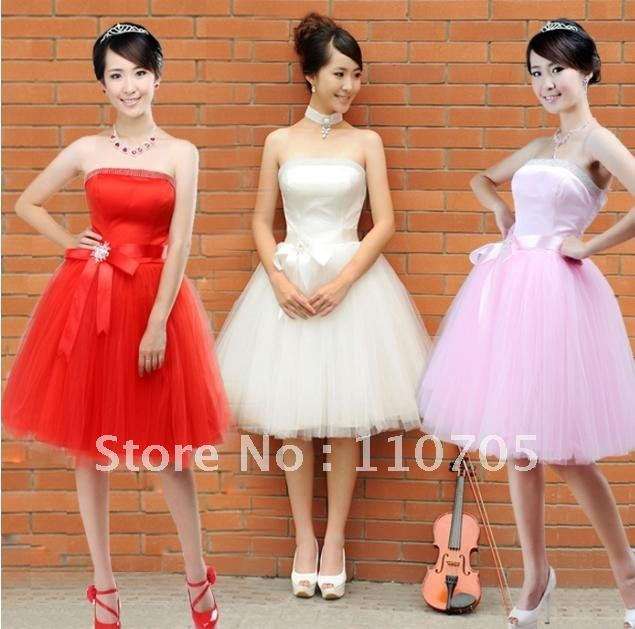 2012 free shipping wedding dress small bridesmaid dress robes