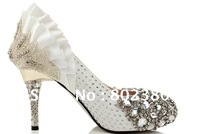 White diamond silk bride wedding shoe with woman single crystal shoe high shoes big yards small yards shoes