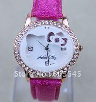 50PCS/Lot EMSFreee New Arrival HelloKitty Watches Fashion Watch Quartz Watch with diamond wristwatch Lady Girl Wrist Watch A-419