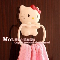 Free Shipping Hello Kitty The ultra- practical three strong suction cup towel hanging ring towel rack towel hanging towel ring