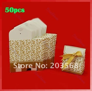 D19+50pcs Gold Ribbon Gift Bags Wedding Favor Candy Boxes