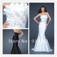 2012 Newly Arriving Satin Mermaid  Applique Custom Made Strapless Floor Elegant White Prom Dress