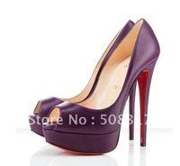 Classique Purple Genuine Leather Lady Peep toe 150mm Platform Heels Pump Shoes @096