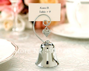 FREE SHIPPING TO ALL OVER WORLD+Charming Chrome Bell Place Card/Photo Holder with Dangling Heart Charm+100pcs/LOT