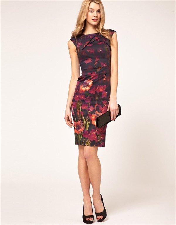 Женское платье 2012 brand New arrvial KM Flower Printed pencil evening ladies dress SKIRT runway Elegant SML XL XXL