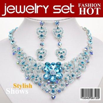 Wholesale Wedding Jewellery Set,Costume Jewellery Set,Zinc Alloy,Crystal Jewellery,Free Shipping