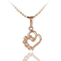 Rose Gold Plated Heart Pendant Necklace use Rhinestones CZ 22C100