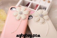 Fantastic Pearl Daisy Flower Diamond Case For iPhone 4 4S to girls .IP4792