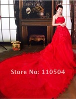 2012 new aesthetic of romantic elegance lace flash piece Super pendulum tail wedding dress red wedding