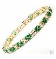 925silver natural Green Crystal bracelet