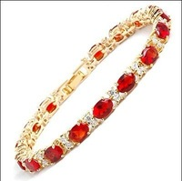 925silver natural Red Crystal bracelet