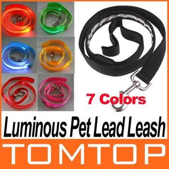 Glow LED Flashing Light Belt Harness Dog Pet Lead Leash Tether