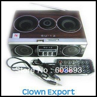 Free Shiping   A11714CL   Mini Sound box MP3 player Mobile Speaker boombox FM Radio SD Card reader USB