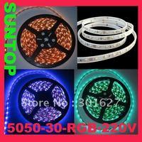 SMD5050,LED30,220V LED RGB strip,5m per set