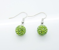 Wholesale New Tresor Pairs Shamballa Earrings! Free shipping, Shamballa Micro Pave CZ Disco Ball bead drop earrings, SMED015