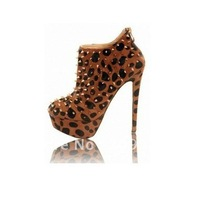 New style leopard print with studs Women's shoes Women's Ankle boots