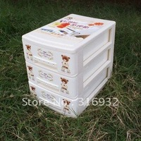 F1 Lovely bear Multi-function three layer mini plastic drawer for storage, free shipping