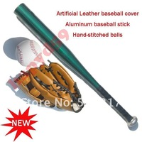 1pcs baseball gloves + 1pcs baseball ball + 1pcs  Aluminum alloy stick bat