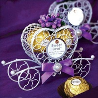 GAGA !Free shipping 50 pcs/lot iron carriage wedding boxes  wedding gift box   candy box AMD01-purple