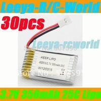 Free ship 30x 3.7V 350mAh 20C-25C Lipo Battery for Walkera Mini CP V100D08 V100D03BL Genius cp QR Ladybird